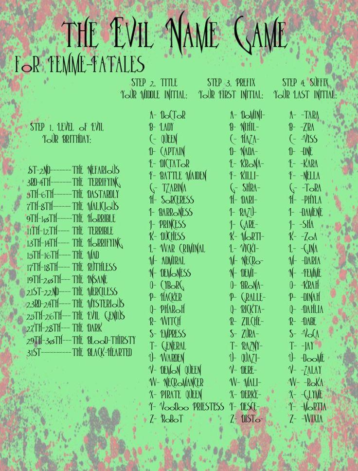 Evil Name Game for Femme-Fatales by Akili-Amethyst