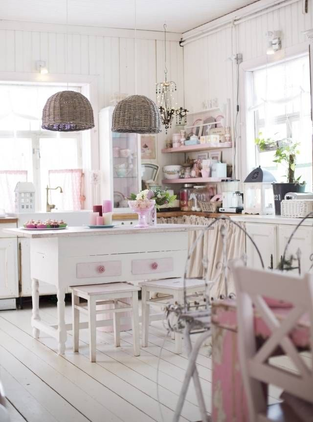 17 best pink in kitchens images on pinterest pink for Romantic kitchen designs