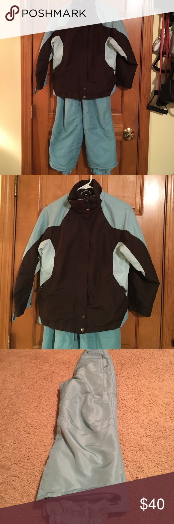 Girls Ski Jacket & Ski Pants Light Blue & Chocolate Brown Ski Jacket & Ski Pants set used twice! In mint condition! Cherokee Matching Sets