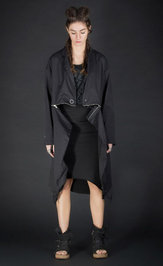 BESSTER - black coat that transforms into black jacket with removable zipper bottom | Studio B3 |
