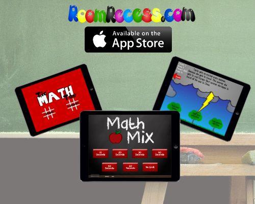 Educational apps from RoomRecess.com: Main Idea, Tic Math Toe, and Math Mix