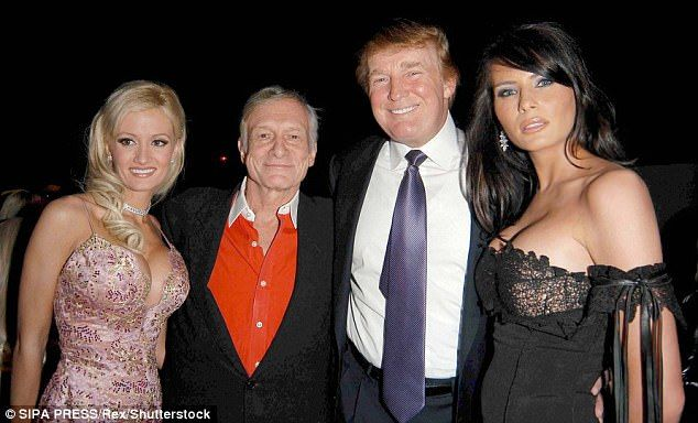 Pictured: Holly Madison with Hugh Hefner, Donald Trump and Melania Knauss