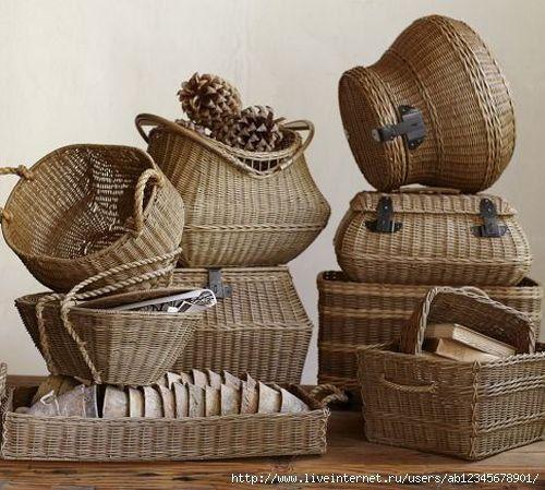 Корзины, плетение из газетных трубочек