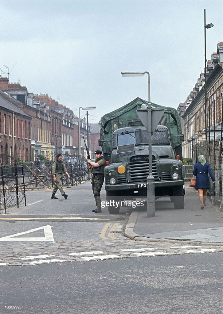 KINGDOM- APRIL 1972. British Army barricade in Belfast during The Troubles, Northern Ireland.