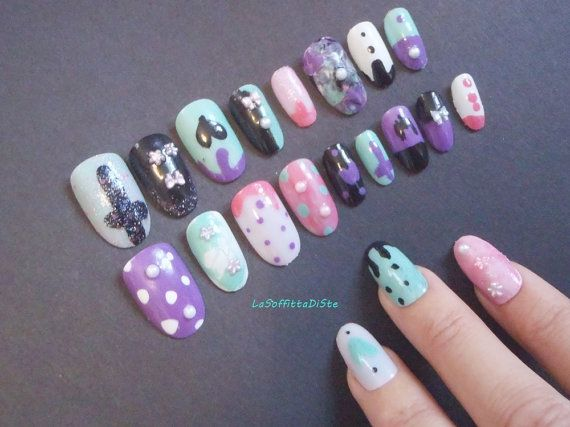3d pastel goth fake nails press on false nail di LaSoffittaDiSte