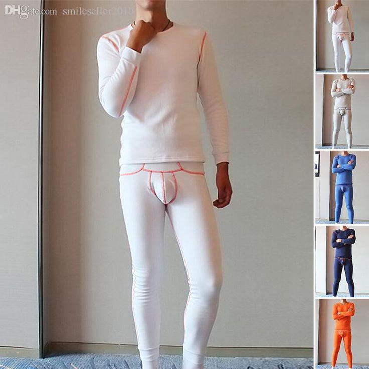 Wholesales Hot Mens Thermal Underwear Sets Long Johns Milk Silk O-Neck Collar Long Warm Underwear Low Waist Men Leggings JK0031