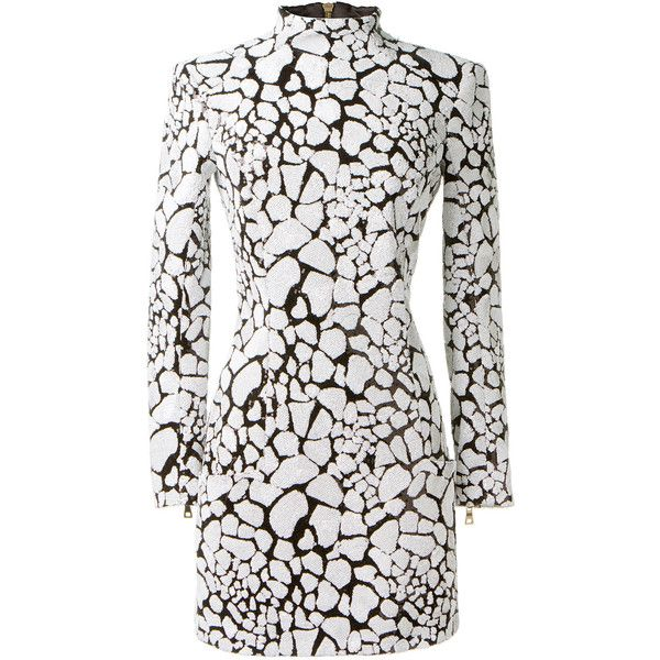 Balmain black and white sequins dress found on Polyvore