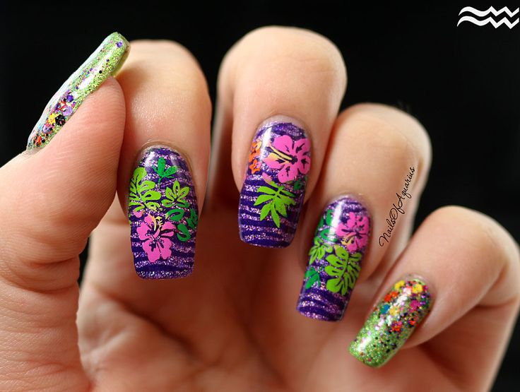 Jungle Love: Multicolor Stamped Tropical Flowers Nail Art + Video Tutorial