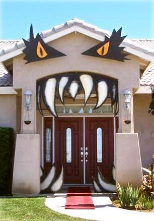 Easy Monster House Halloween entrance to spook up the front of your home for trick or treaters!