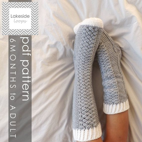 Instant Download - The Parker Cable Crochet Socks PATTERN (includes 11 sizes - Baby (6 Months) through to Mens/Womens Adult sizes)