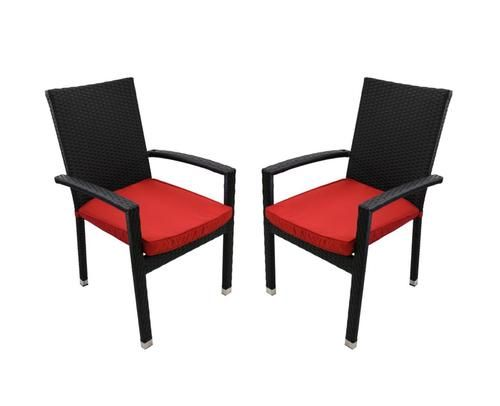 Set of 2 Black Resin Wicker Outdoor Patio Furniture Dining Chairs - Red Cushions