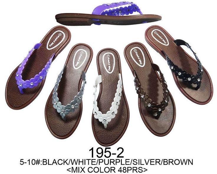 Bulk ladies Sandals, 48 Pairs in Assorted Colors, Wholesale Flip Flops, Style 195-2