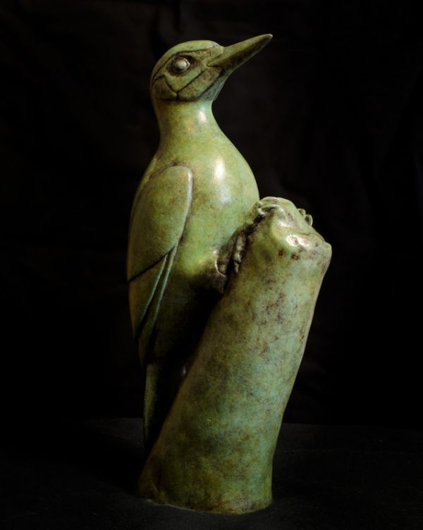 #Bronze #sculpture by #sculptor Anthony Smith titled: 'Green Woodpecker (Yaffle and stump Bronze statue sculpture statuette)'. #AnthonySmith