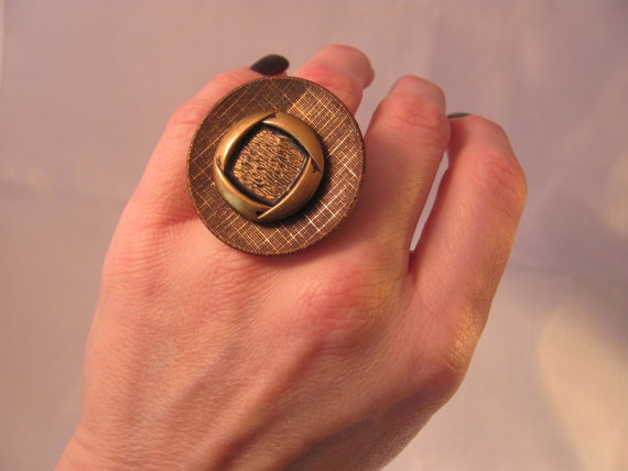 Ring Button Adjustable Bronze Cool Quirky by ConstantlyUnfolding, $10.50: Creative Ideas, Button Adjustable