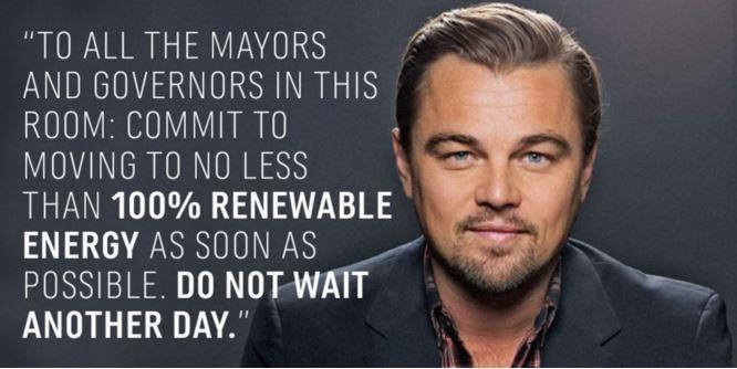 #LeonardoDiCaprio  unites with 1000 cities to  #go100percent  renewable energy   #ActOnClimate  #Cities4Climate   #COP21  #Paris