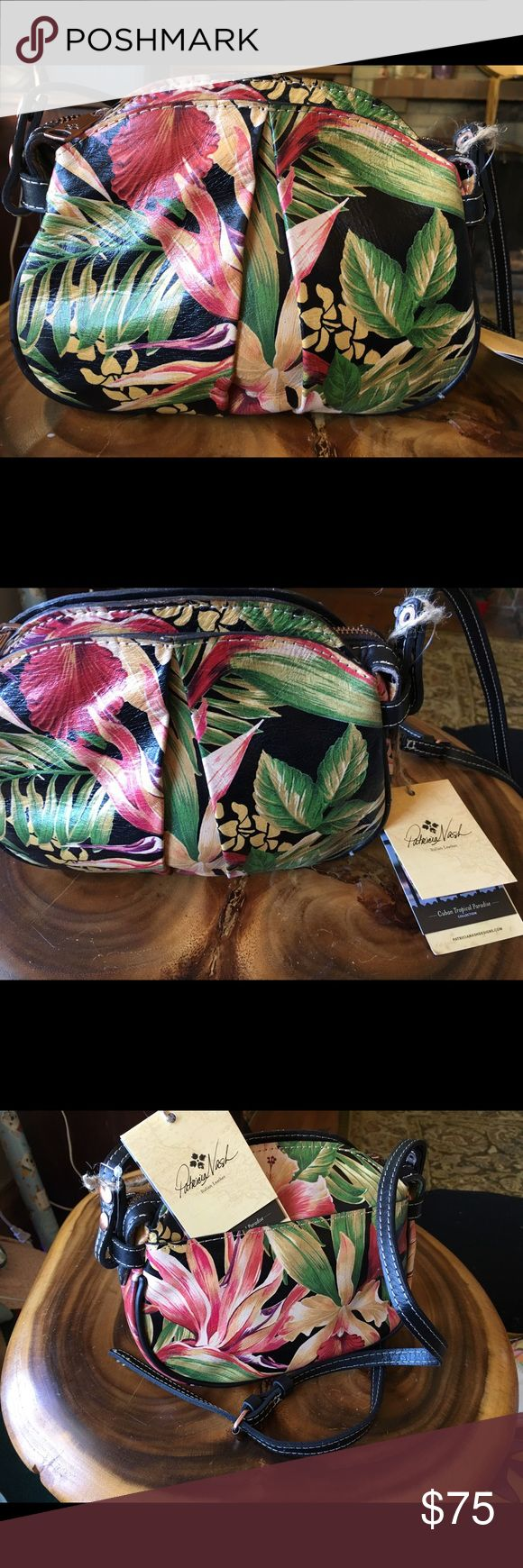 Patricia Nash Crossbody RARE!!!! Cubano Series Vegetable tanned Cuban tropical in black- Chania style Authenticity card & duster bag included Patricia Nash Bags