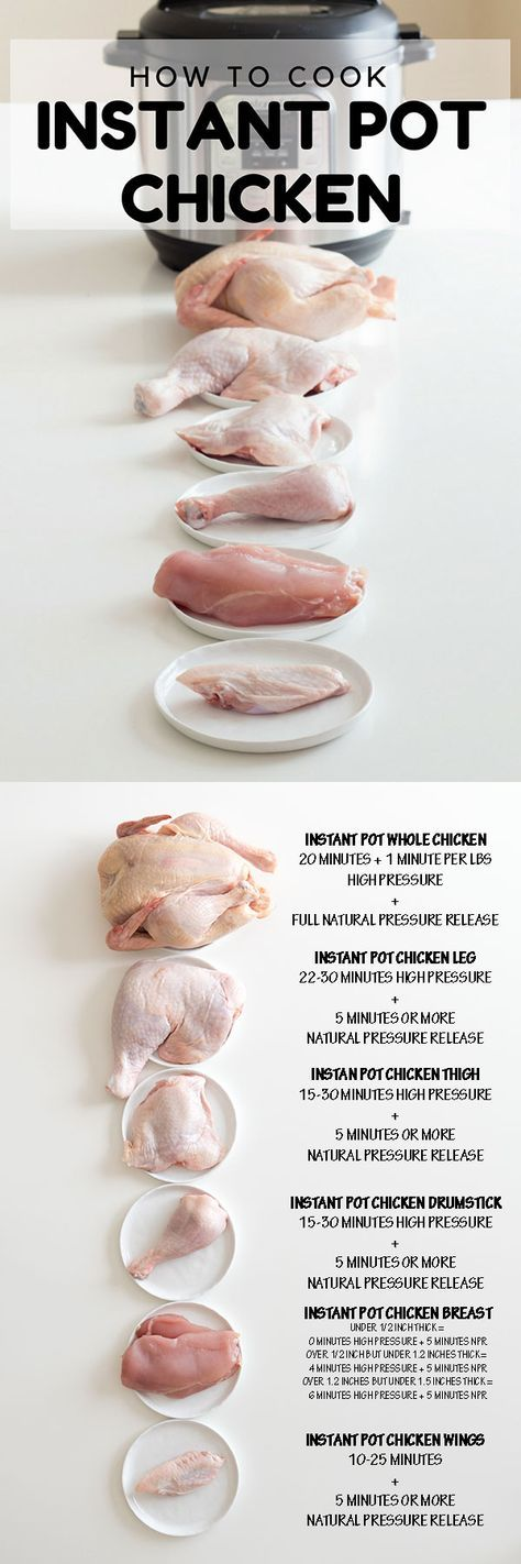 The longest experiment of all times: Instant Pot Chicken. How long to pressure cook a whole chicken, chicken legs, chicken thighs, chicken drumsticks, chicken wings AND chicken breasts. I've got chicken coming out of my ears now! via @greenhealthycoo