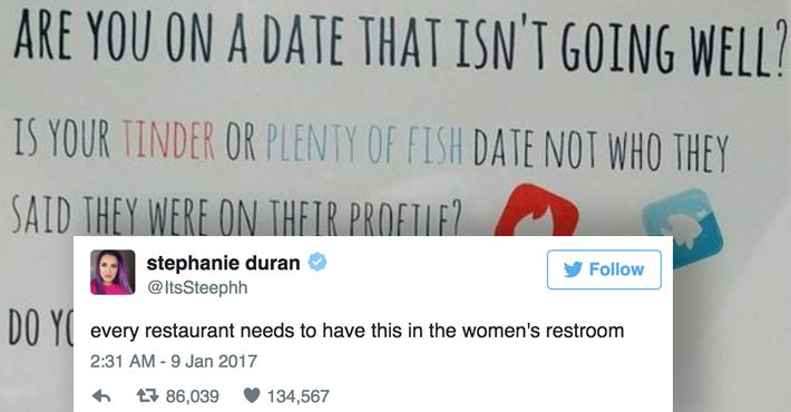 Restaurant Leaves Brilliant Code In Women's Restroom To Protect Them From Bad Tinder Dates.