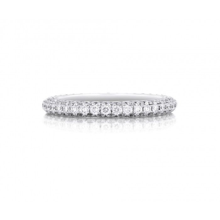 Darling Pavé Eternity Band As a Diamond is Forever, our eternity bands have a timeless appeal to treasure for a lifetime. This delicate band is 2.3 mm (0.09 in.) wide, made of 18K white gold set with round brilliant micropavé diamonds.