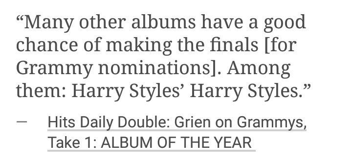 Hits Daily Double talking about Harry's album possibly making the finals for Grammy nominations.