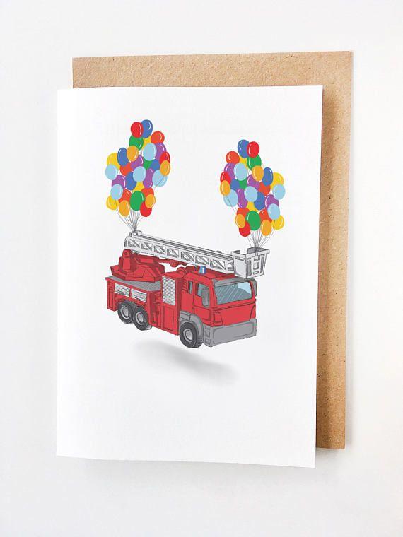 Fire Truck Birthday Card  Cute Birthday Card Tarjeta de
