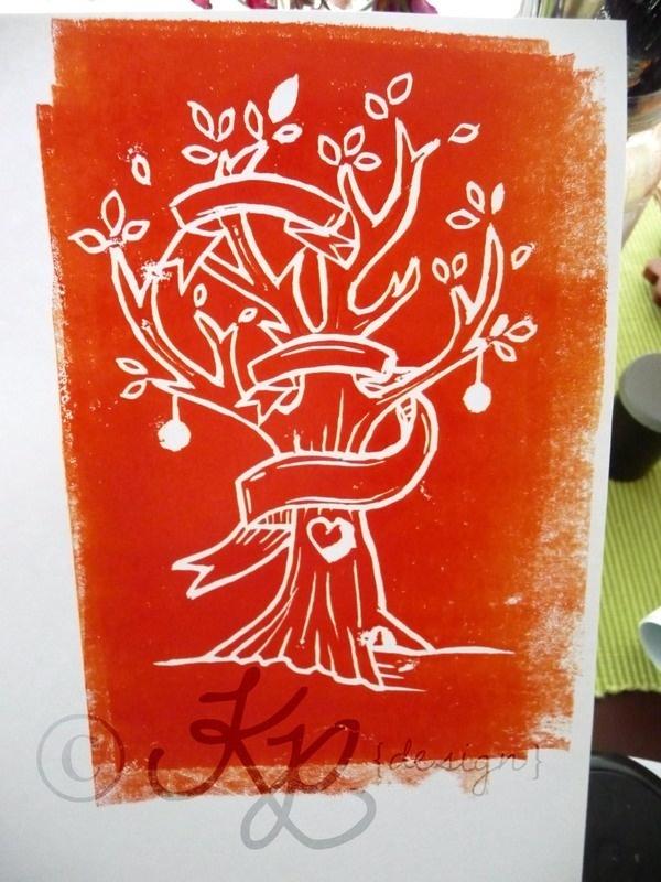 Christmas Lino Print by Keren Elise Persson, via Behance