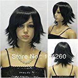 Smile NWT beautiful OL Fashion black short straight cosplay full WIG+free wig cap