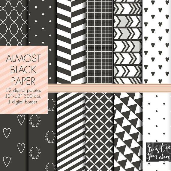 Black digital paper, Geometric, chevron, heart, polka dot, striped, laurel, tria…