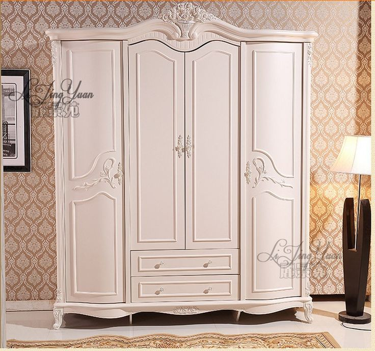 six door wardrobe Antique white European whole wardrobe French rural furniture 01