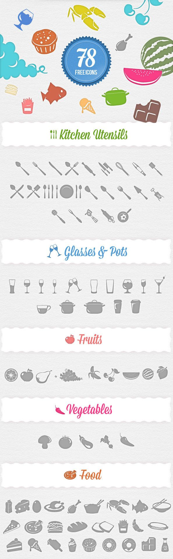 Free Food Icons Set--for web design but I'm sure I could use them somehow!