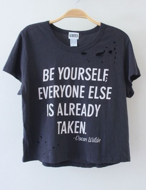 """RESTOCKED May 1!  One of a kind distressed crop tee from quality brand SCRATCH!   Charcoal gray crop tee has a super soft, worn-in feel with Oscar Wilde quote graphic on the front: """"BE YOURSELF, EVERYONE ELSE IS ALREADY TAKEN."""" Tee has vintage-inspired distressed holes all over.  **Shirts a..."""