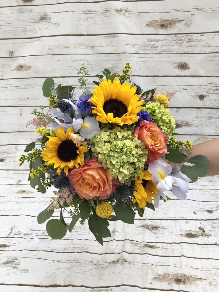 A beautiful bridal or bridesmaid bouquet filled with