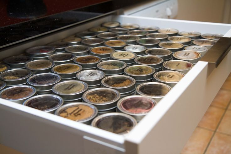 Semi-industrial kitchen. Spice drawer 1 of 4. Perfect for the wholesome chef! www.thekitchendesigncentre.com.au