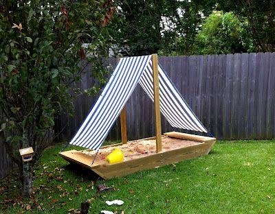 Sailboat sandbox tutorial. You could use the sail as a tarp to cover the sandbox at night...