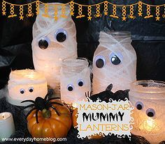 mason jar mummy lanterns, crafts, halloween decorations, mason jars, seasonal holiday d cor, Mason Jar and smaller jars are the perfect size for this family of Mummy Lanterns