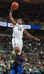 Michigan State has been chosen as the unanimous Big Ten favorite heading into the 2013-14 men's basketball season as voted on by a panel of conference media. The media also tabbed Spartan sophomore Gary Harris as the Preseason Player of the Year.