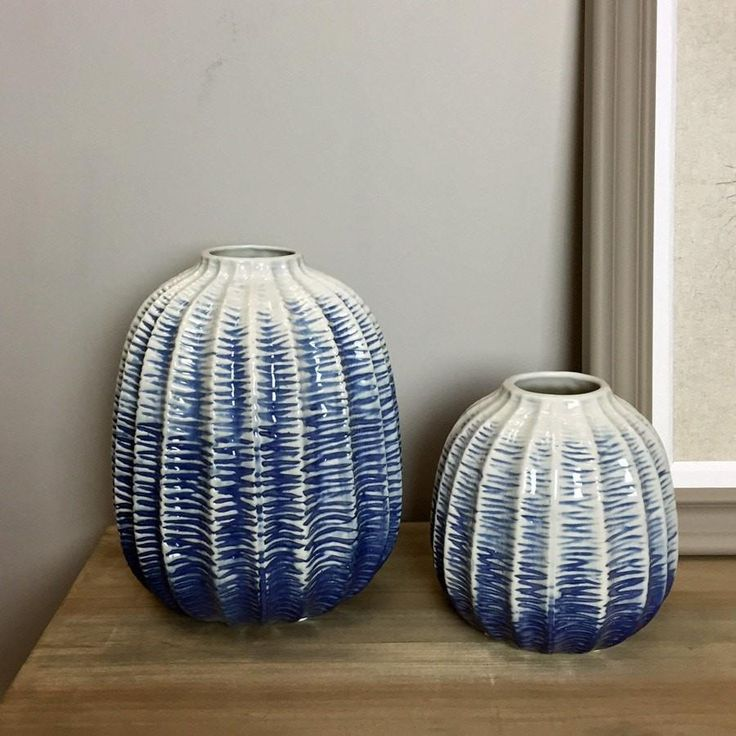 Textured Blue Porcelain Bud Vases from The Farthing