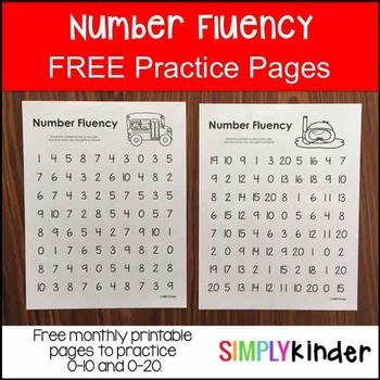 FREE Number Fluency - Number Fluency PrintablesIncluded in this download is:4 number fluency practice pages- 2 pages of 0-10- 2 pages of 0-20You will also like:   Candy Corn Number Puzzlers Number Formation Poems Alphabet Brochures Fire Safety Interactive Reader Bats Interactive ReaderCheck out these other top sellers from Simply Kinder:   Alphabet Snap Cubes Alphabet Hats Alphabet Writing Poems Editable Rules with Activities Number Formation Poemsnumber fluency, number identification…