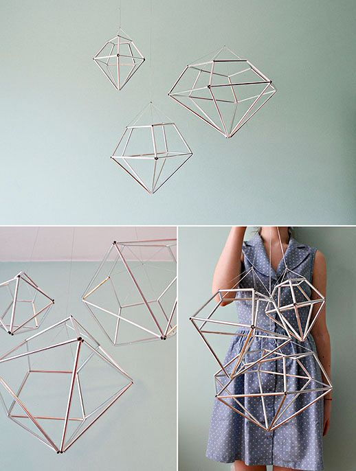 DIY hanging diamond decor by contributor Kathleen  Maybe hanging from the top of your tent with little white lights strung in them?