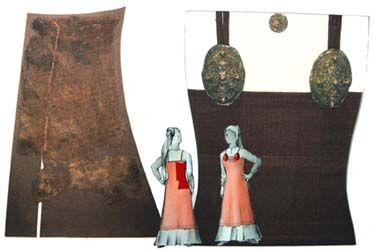 900 - 1000 AD, apron dress fragment from Haithabu, Germany (back then Denmark).