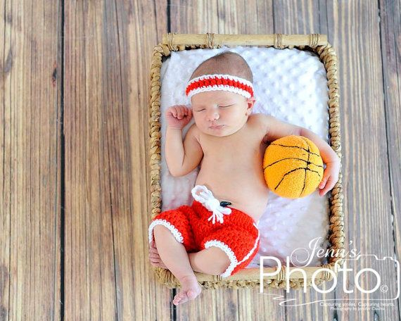 Crochet Basketball Set - Basketball Shorts - Basketball Sweatband - Baby Boy Basketball Set - Newborn Photography Prop