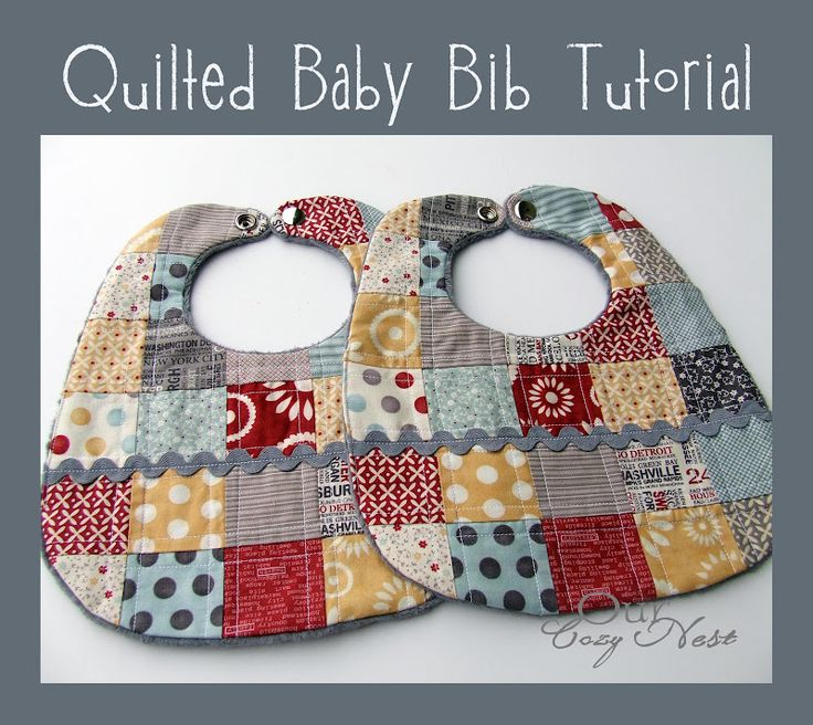 Cute, easy, and a great scrap project!  Quilted Baby Bib Tutorial.  Perfect for a baby shower gift.