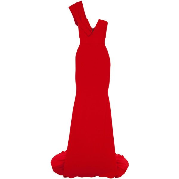 Alex Perry Bradford Gown ($1,860) ❤ liked on Polyvore featuring dresses, gowns, alex perry, red, red gown, red one shoulder dress, plunge dresses, crepe gown and red one shoulder gown