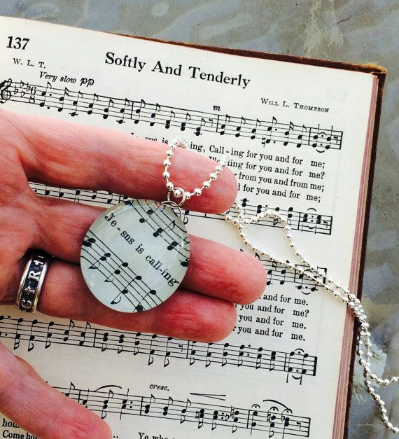 Hymn Necklace, Softly and Tenderly, Jesus Is Calling, Christian Gifts, Christian Jewelry, Hymnal Gifts, Praise and Worship, Christmas Gift