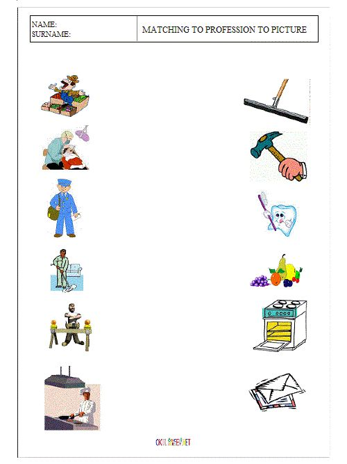People Occupations Jobs And Community At: MATCHING THE OCCUPATIONS WORKSHEETS
