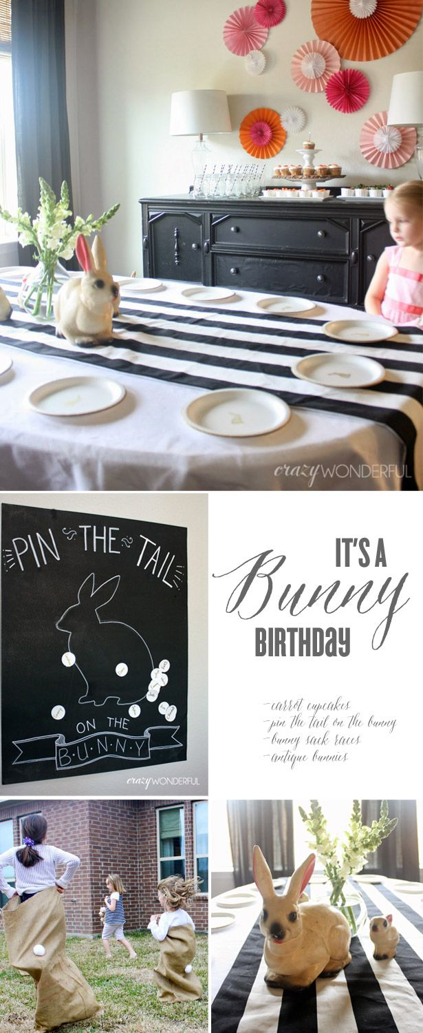 Bunny Birthday Party in Orange, Pink & Black | @Shelley Westerman | Crazy Wonderful featured on TheCelebrationShoppe.com #bunny #easter