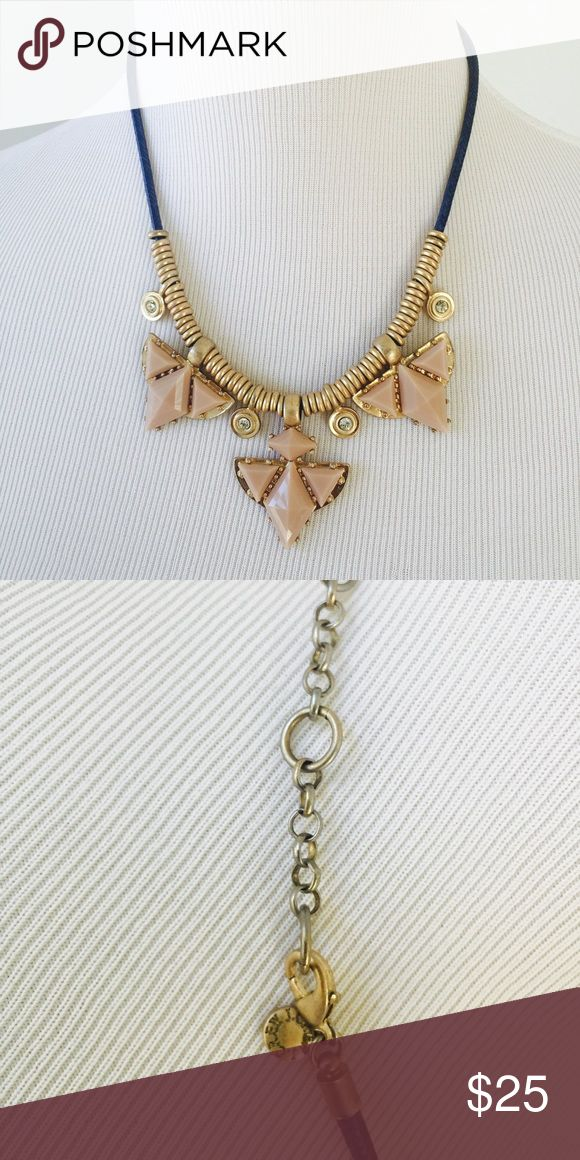 J.Crew Blue Blush Pink Statement Aztec Necklace J.Crew Aztec Triangle Blush Pink, Cream and Navy Blue Statement Necklace. Worn a handful of times. In great condition. Total length: 19 inches J. Crew Jewelry Necklaces