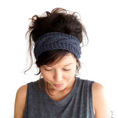 I'm so going to make this in tons of colours!!!!  Cable Knit Headband in Charcoal Grey 100% Merino Wool