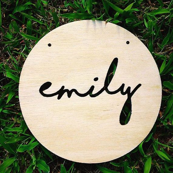 The custom CUT OUT NAME plaque from Katrina Louise Designs. Perfect gift for a new baby, to decorate a nursery or to hang on the wall in a girls bedroom or teepee.