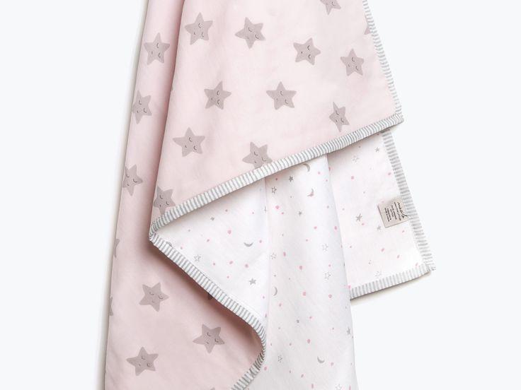 Sleepy Star-Organic Cotton Baby Blanket, Star Pink Baby Blanket, Star Baby Blanket, Baby Blanket, Star, Baby Shower Gift, Baby Girl Gift